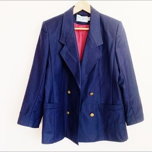 pure wool navy structured double breasted blazer
